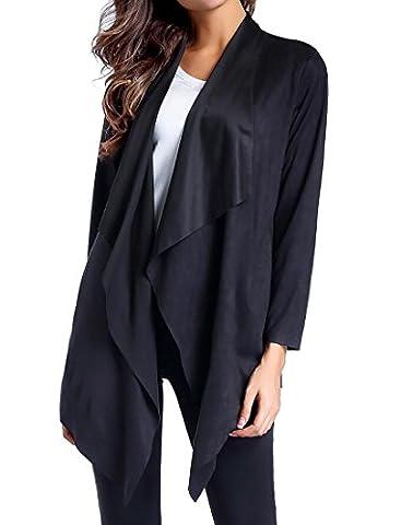 YUNY Women's Open Front Faux Suede Irregular Hem Overcoat Cardigan Black US 2XL - Faux Suede Blazer