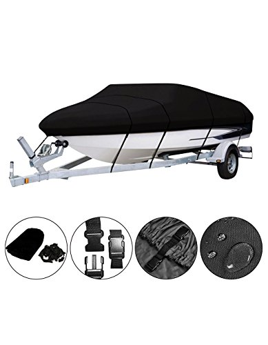 "OOFIT Waterproof Boat Cross Trailerable, Breathable Driveway/Mooring/Storage Used Boat Cover with Heavy Duty 600D Fabric, Fits Size 14'-16' V-Structure, Tri-Hull Boat Covers Up to 90""Width (530x290cm)"