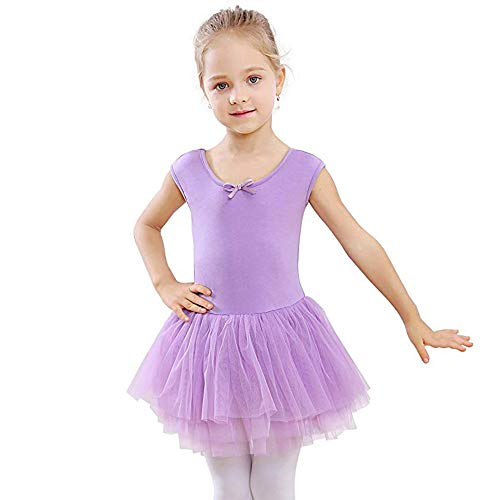 STELLE Toddler/Girls Tank Tutu Dress Leotard for Dance, Gymnastics and Ballet(Purple, 100cm(5Y))