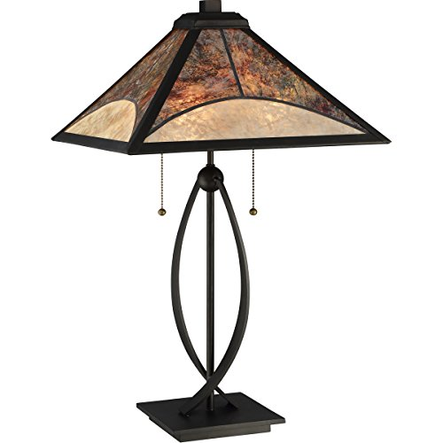 (Quoizel MC2581T Theory Mica Shell Table Lamp Lighting, 2-Light, 120 Watts, Darkest Bronze (25