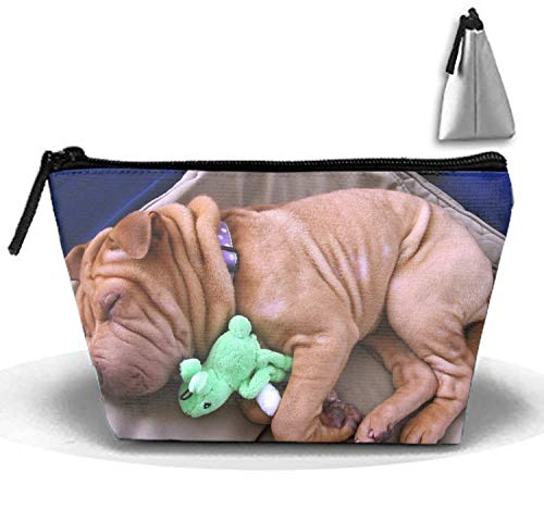Waterproof Shar Pei Cosmetic Bags Portable Travel Trapezoidal Toiletry Pouch