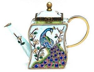 Peacock on a Branch Enameled Miniature Teapot Trinket Box by Kelvin Chen, (T3.25 Miniature)