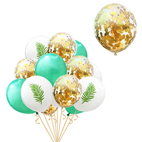 DreamJ Balloons 15pcs Banana Leaf Gold Confetti Balloon Latex Glitter Balloons for Wedding Party and Birthday, Graduation, Proposal, Christmas, Baby Showers, Valentine's Day Party - Pad Fannie