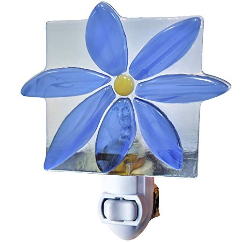 Fused Glass Night Light - J Devlin NTL 150 Blue Flower Night Light Decorative Fused Glass Bathroom Bedroom Night Lite