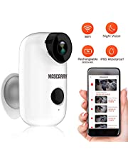 Mascarry Wireless WiFi Home Security Camera System with PIR Motion Detection, Rechargeable Battery Powered, Wall Mount,Indoor/Outdoor, HD Video, 2-Way Audio Night Vision & SD Card Socket
