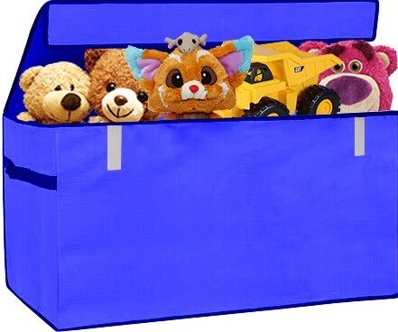 XXL Chest Organizer Box Flip-Top LID Jumbo Organizer Collapsible Cloth Baskets Foldable Large Nursery Bins Gifts Storage Cubes Laundry Space Saver for Ofiice Bedroom Playroom , Blue, PRORIGHTY (Game Cloth Video Diaper)