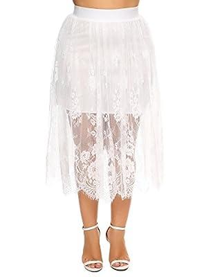Women's Plus Size Floral Pleated Skater Casual A-line Mini Tutu Skirt