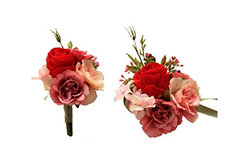 (MOJUN Artificial Rose Flower Boutonniere Corsage Set Handmade Floral Silk Fabric for Grooms Groomsmen Bridal Bridesmaids Prom Party Wedding Decor, Red)