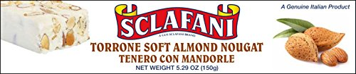 Sclafani Soft Almond Nougat Torrone Bar-5.29oz Italian Almond Candy