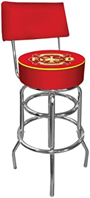 Trademark Global Fire Fighter Padded Bar Stool with Back