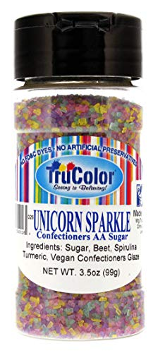 Decorative Sugar Sanding - TruColor Unicorn Sparkle Sanding Sugar, 3.5oz - Natural Decorating Sugar Crystals || No Artificial Colors or Preservatives, No FD&C or Synthetic Dyes