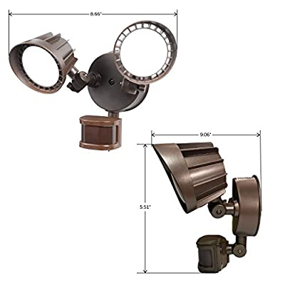 Honeywell NS0421-78 Dual Stage Motion Security LED Light, Remington Bronze