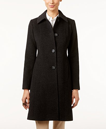 Anne Klein Women's Single Breasted Wool-Cashmere Blend Walker Coat, Charcoal 10 - Anne Klein Cashmere
