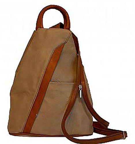 G&G PELLETTERIA - Bolso mochila  de Piel para mujer Taupe+Cognac