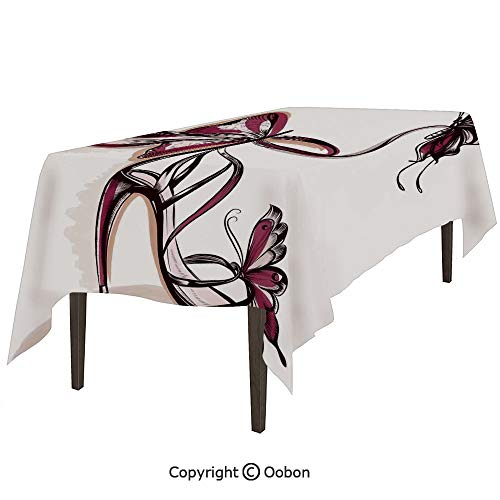 (Space Decorations Tablecloth, High Heels with Butterfly and Ribbon Ornamentals Be Grace Spruceness Theme, Rectangular Table Cover for Dining Room Kitchen, W60xL84 inch )