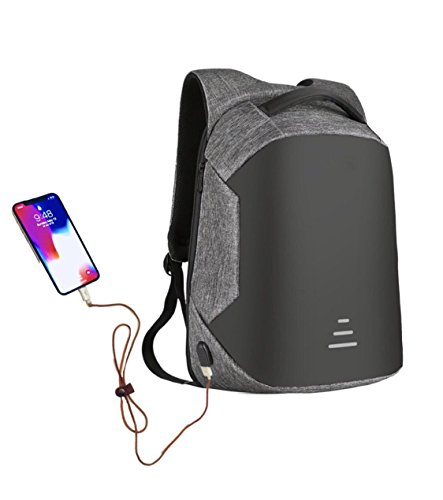 (Wonder Anti Theft Slim Laptop knapsack, with Useful Headphone & USB Charging Port, Convenient softback for Comfortable Travel. Unisex, Waterproof & Rainproof Backpack, fits 15.6 inch Laptop (Grey))