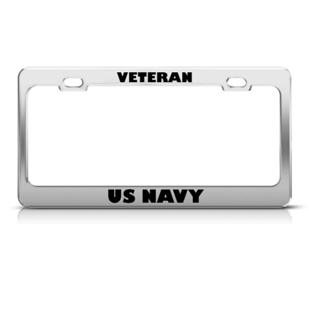 NAVY Metal Auto License Plate Frame Car Tag Holder VETERAN U.S