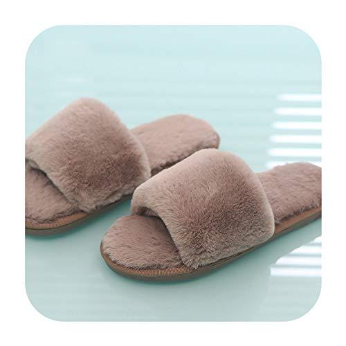 2018 Women Fur Slippers Winter Flat Shoes Woman Plus Size Home Slipper Plush Pantufa Women House Terlik Warm Fluffy Flip Flops,Khaki,38