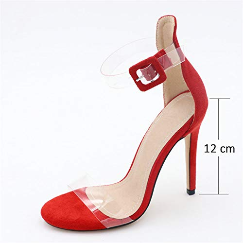 - SSLOPY& 2019 Women Sandals Cover Heel Summer Shoes Buckle Thin High Heels Ankle Strap Party Elegant Sandals Women Shoes 34-43 Big red 12 cm 4