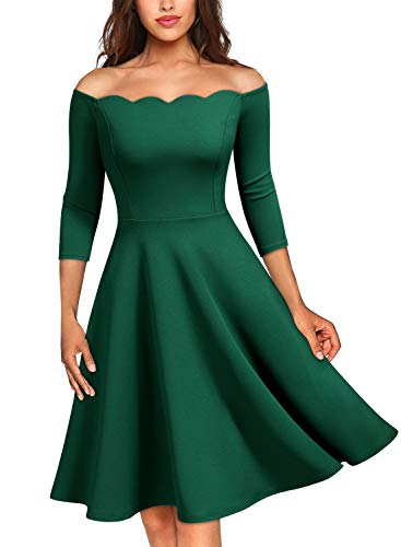 MISSMAY Women's Vintage Cocktail Party Half Sleeve Boat Neck Swing Dress, Large, Dark Green