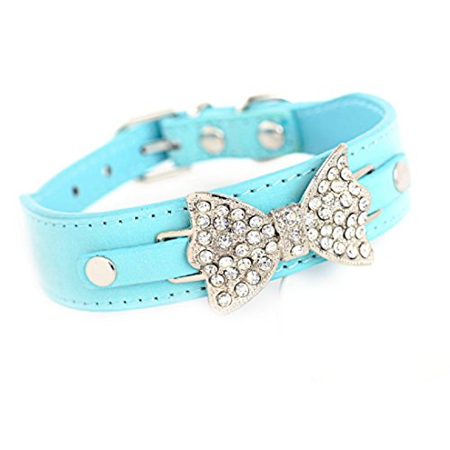 WensLTD Hotsale!Bling Crystal With Bow Adjustable Dog Puppy Pet Leather Collars (Blue, XS) ()