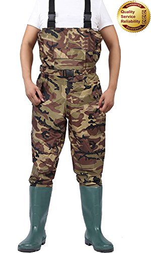 Chest Waders Cleated Fishing Hunting Waders for Men and Women with Boots 2-Ply Nylon PVC Waterproof Bootfoot Wader Camouflage Brown 8-13