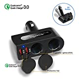 Rocketek 2 USB 2 Socket Car Cigarette Lighter Adapter Combine Dual 12V/24V DC Outlet Car Splitter and Dual USB QC3.0 Car Charger Adapter, The Car Socket and Car USB Support up to 90W / 4 Devices
