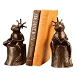 Bronze Metal Frog Prince on Stump Bookend Pair