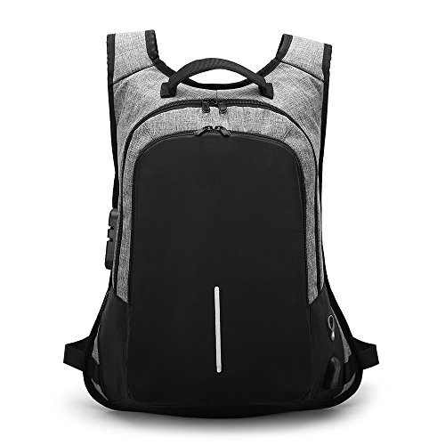 (VonVonCo Crossbody Bag for Men External Charging Sports Waterproof Student Bag Laptop Backpak GY)