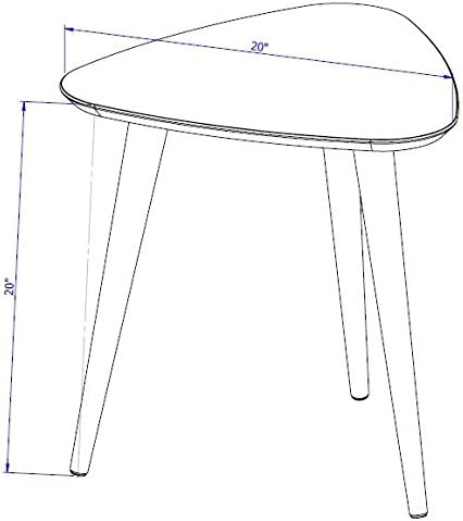 Manhattan Comfort Utopia High Triangle End Table, Off Off White