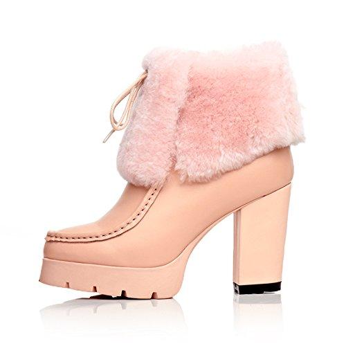 MINIVOG Cuff Chunky Heel Treaded Sole Platform Womens Winter Booties Pink KxFELu