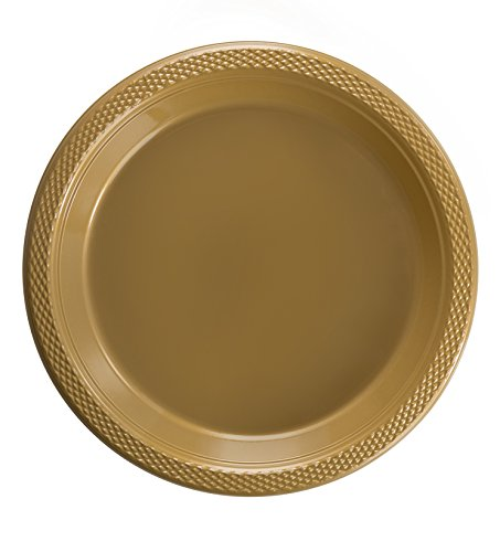 Exquisite Plastic Dessert/Salad Plates - Solid Color Disposable Plates - 100 Count (10 Inch, Gold) ()