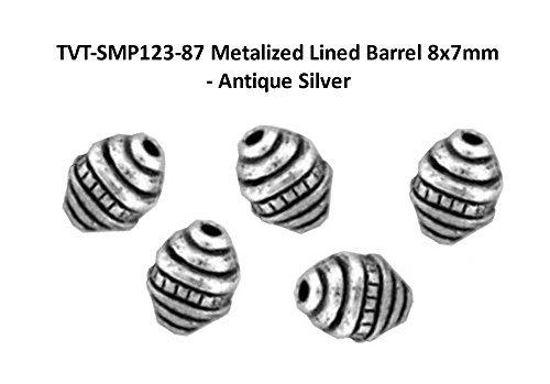 (PlanetZia 100pcs 8 x7mm Metalized Lined Barrel Spacer Beads TVT-SMP123-87 (Antique)