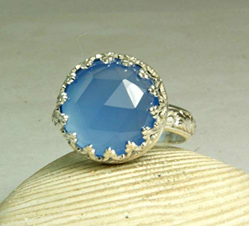 Rose Cut Blue Chalcedony Cocktail Ring in Sterling Silver