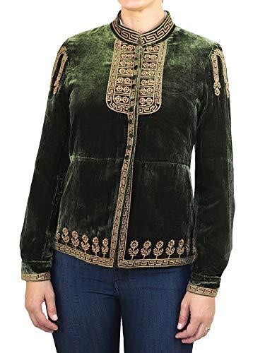 EW Collection Womenâ€s Mandarin Collar Embroidered Velvet Jacket Olive ()