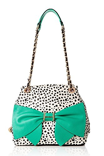 Betsey Johnson Oh Bow You Didn't Top Handle Handbag,Spot White Bow Satchel