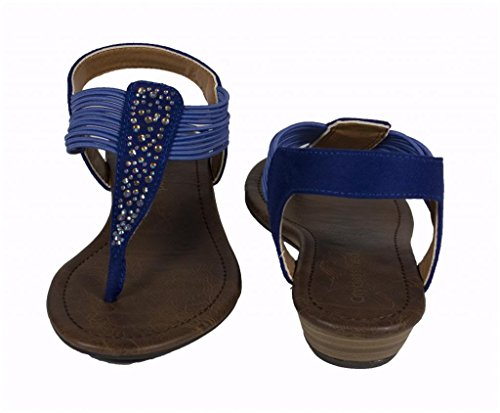 Lustacious Jeweled T-strap with Multi Elastic Décor Low Wedge Sandal Twilight Blue Faux Suede yCllWK9