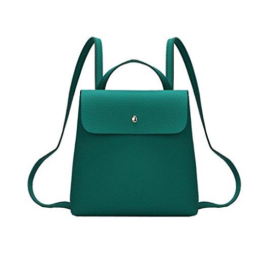 - Sumen Backpack Women Girl Pure Color Leather Mini School Bag Soft Square Shoulder Bag (Green)