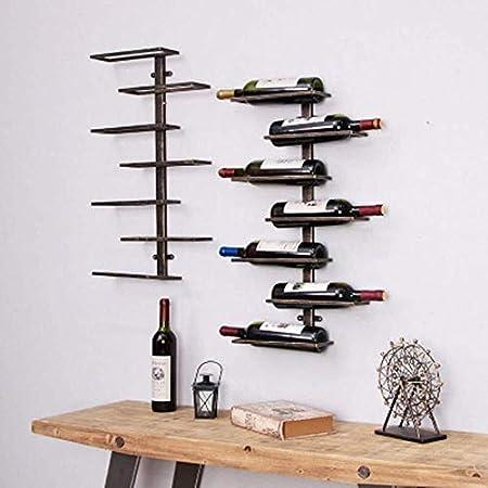 Estantería de vino Estante del vino montado en la pared del estante del vino del metal de la vendimia estante del vino estante de la pared del vino colgar de la pared del refrigerador de vino creativo