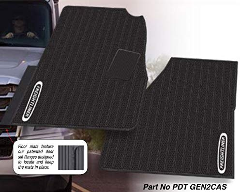 (Freightliner Cascadia Rubber All-Weather OEM Floor Mats W/Logo fits 2018-2019 -2 Pc Fronts)
