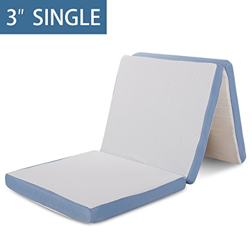 """Price comparison product image Comfort & Relax Tri-Folding Mattress Topper 3"""" AirCell-Tech Memory Foam Single Size,  Removable Cover"""