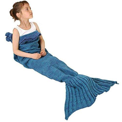 Knitted Wash Blanket - Joyci Mermaid Tail Blanket Kids Falbala Knitted Crochet Blanket Sofa (Lake Blue)