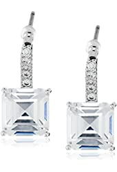 "CZ by Kenneth Jay Lane ""Basic"" Princess Cubic Zirconia Pave Post Classic Drop Earrings"