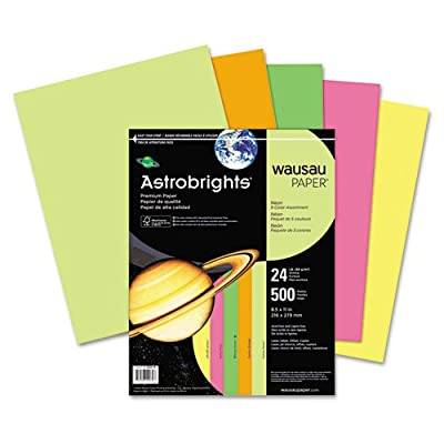 Wausau 20270 Astrobrights Colored Paper, 24lb, 8-1/2 x 11, Neon Assortment, 500 Sheets/Ream