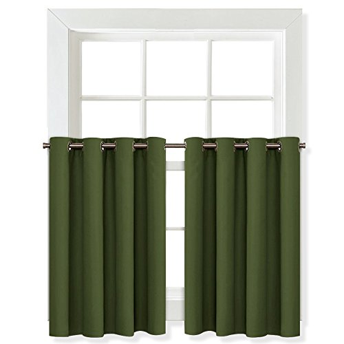 Green Window Curtain - NICETOWN Blackout Valances Small Window Tiers - Window Treatment Kitchen Grommet Curtain Valance Panels (Olive Green, Double Panels, 52