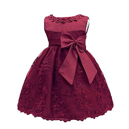 LZH Baby Girls Birthday Christening Dress Baptism Wedding Party Flower Dress (8135-Wine Red,12M)]()