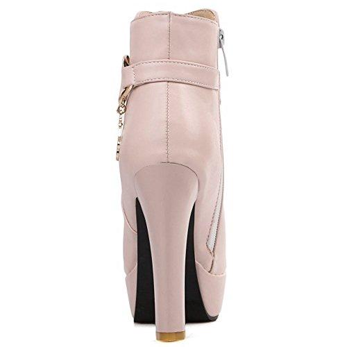 de Botas Pink Tobillo Alto RAZAMAZA Plataforma Mujer Tacon Botines Moda Vestir qwKE4g8
