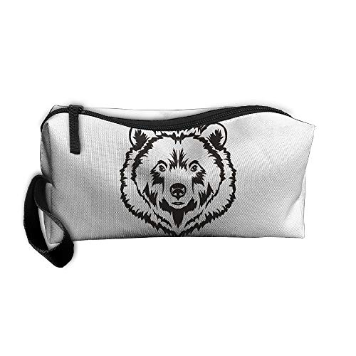 Cosmetic Bags With Zipper Makeup Bag Bear Face Middle Wallet Hangbag Wristlet Holder for $<!--$7.50-->
