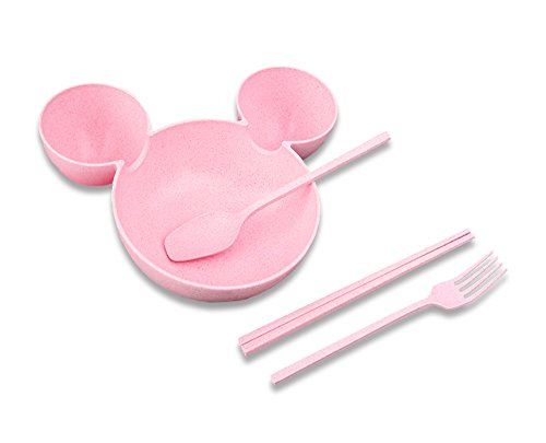 Price comparison product image Finex Wheat Straw Fiber Pink Mickey Mouse Head Cereal Soup Bowl Set with Spoon Fork and Chopsticks for Kids Toddlers Mealtime Dinnerware