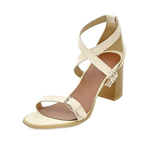 VogueZone009 Women PU Buckle Open-Toe Kitten-Heels Solid Sandals Beige